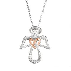 My Shield My Strength Sterling Silver Two Tone Angel Pendant