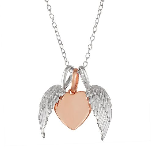My Shield My Strength Sterling Silver Two Tone Angel Wing & Heart Pendant
