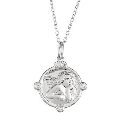 My Shield My Strength Sterling Silver Cherub Pendant