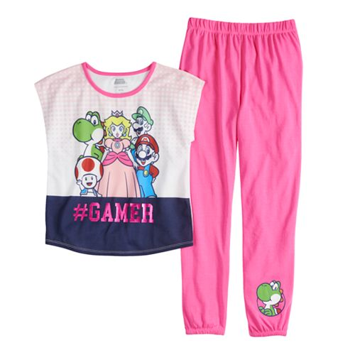 Girls 4-16 Mario, Luigi, Peach & Yoshi Top & Bottoms Pajama Set