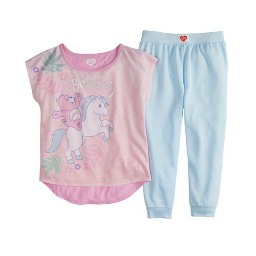 Girls 4-16 Care Bears Cheer Bear Top & Bottoms Pajama Set