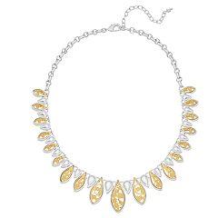 Napier Two Tone Milgrain Teardrop Collar Necklace
