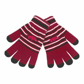 Adult Arkansas Razorbacks Striped Knit Gloves