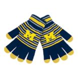 Adult Michigan Wolverines Striped Knit Gloves