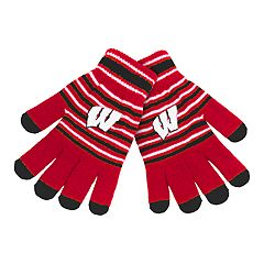 Adult Wisconsin Badgers Striped Knit Gloves