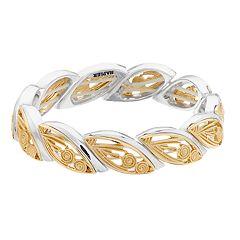 Napier Two Tone Milgrain Marquise Stretch Bracelet