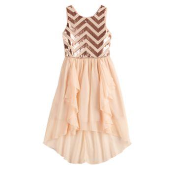 Girls 7-16 Love, Jayne Sequin Chevron Bodice Walkthrough Dress