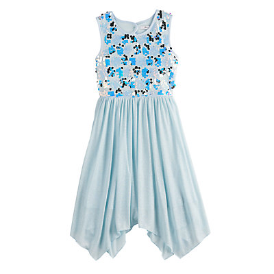 Girls 7-16 Love, Jayne Sequin Bodice Handkerchief Hem Dress
