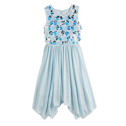 Girls 7-16 Love, Jayne Sequin Bodice Handkerchief Hem Dress