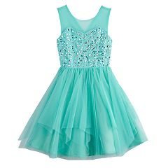 Girls 7-16 Love, Jayne Illusion Neck Sequin Bodice Dress