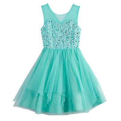 Girls 7-16 Love, Jayne Illusion Neck Sequin Bodice Dress