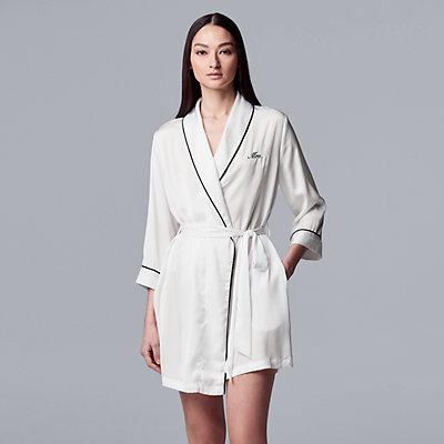 "Women's Simply Vera Vera Wang ""Mrs."" Satin Wrap Robe"