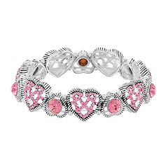 Napier Glass Heart Stretch Bracelet