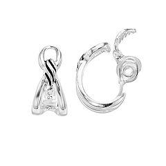 Napier Silver Tone Textured Hoop Clip-On Earrings