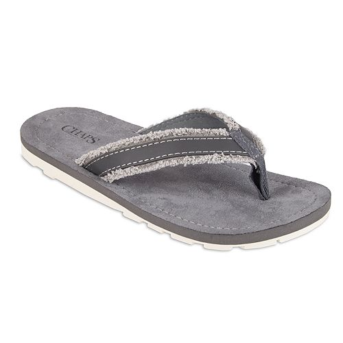 Men's Chaps Canvas Frayed White Outsole Thong Flip-Flops