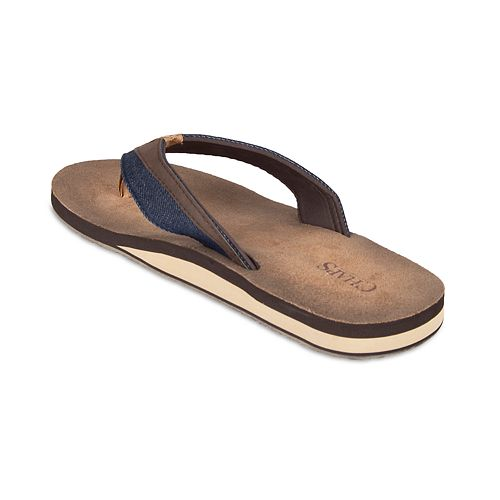 Men's Chaps Denim & PU Thong Sandals