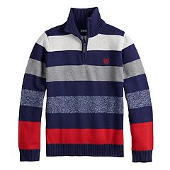Boys 4-20 Chaps Hackett Striped Quarter-Zip Swearter