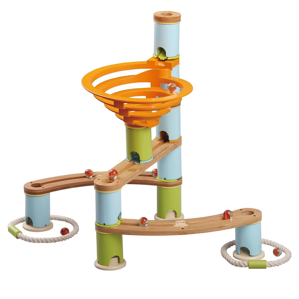 Fat Brain Toys Bamboo Builder Marble Run  87-piece Set