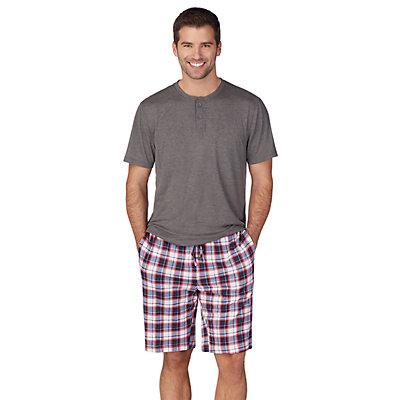 Men's Cuddl Duds Henley & Sleep Shorts Set