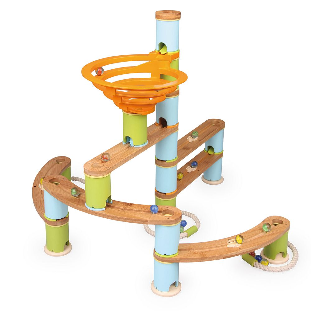 Fat Brain Toys Bamboo Builder Marble Run 119-piece Set