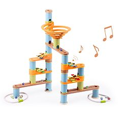Fat Brain Toys Bamboo Builder Marble Run with Music 127-piece Set