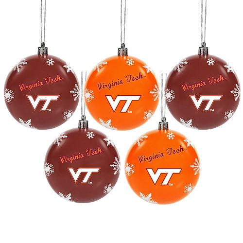 - Virginia Tech Hokies 5-Pack Shatterproof Ball Ornament Set