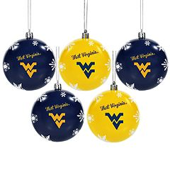 West Virginia Mountaineers 5-Pack Shatterproof Ball Ornament Set