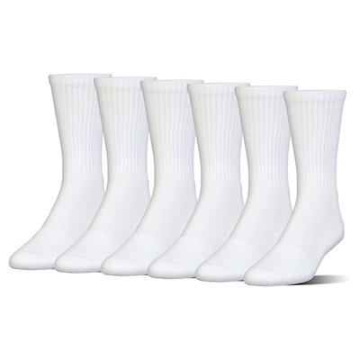 Boys 4-20 Under Armour Charged Cotton 6-Pack Crew Socks