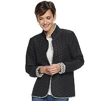 Deals on Croft & Barrow Quilted Reversible Open-Front Womens Jacket