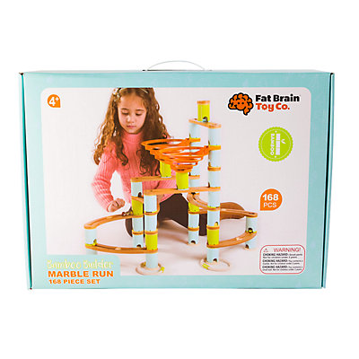 Fat Brain Toys Bamboo Builder Marble Run 168-piece Set