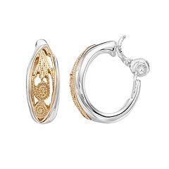 Napier Two Tone Milgrain Oval Hoop Clip-On Earrings