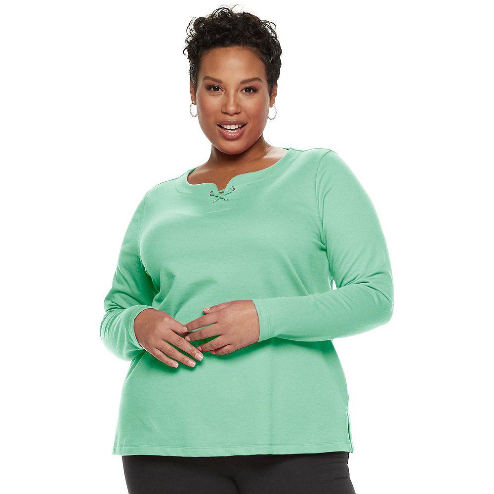 Plus Size Croft & Barrow® Lace-Up Sweatshirt