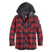Boys 8-20 Black Jack Button-Down Hooded Flannel Shirt
