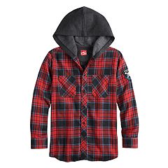 Boys 8-20 Black Jack Button-Down Hooded Flannel Shirt