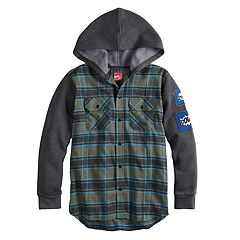 Boys 8-20 Black Jack Fleece & Flannel Button-Down Hooded Shirt