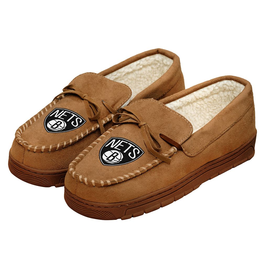 Men's Forever Collectibles Brooklyn Nets Moccasin Slippers