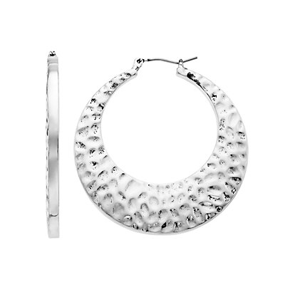SONOMA Goods for Life? Silver Tone Hammered Thick Hoop Earrings