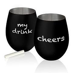 Artland Colton 17-oz. Chalkable Stemless Wine Glass Set