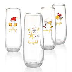 Artland Jolly & Bright Holiday 4-piece Stemless Champagne Flute Set
