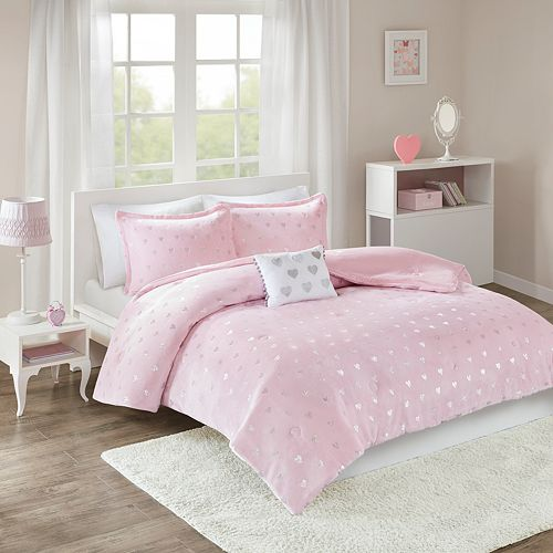 Mi Zone Jenna Metallic Heart Printed Comforter Set