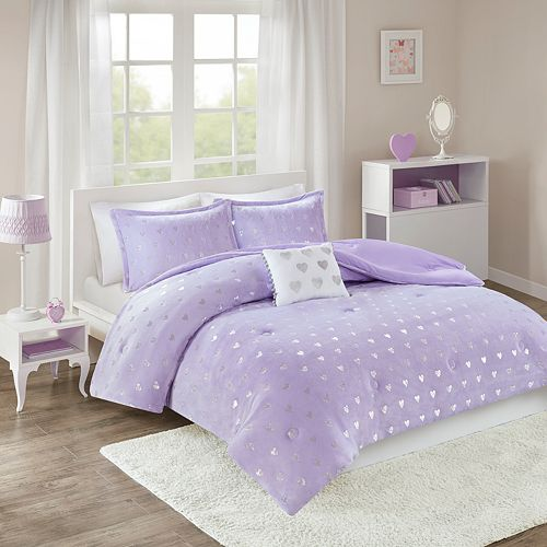 Mi Zone Jenna Metallic Heart Printed Comforter Set