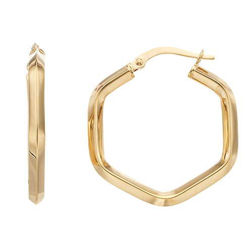 14K Gold Hexagon Hoop Earrings