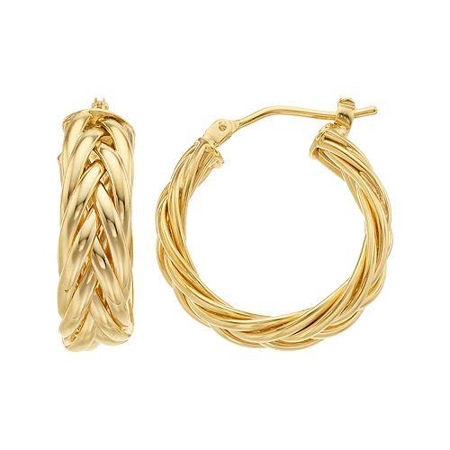 14K Gold Braided Hoop Earrings