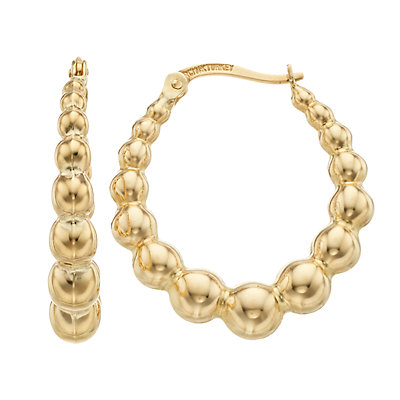 14K Gold Door Knocker Hoop Earrings