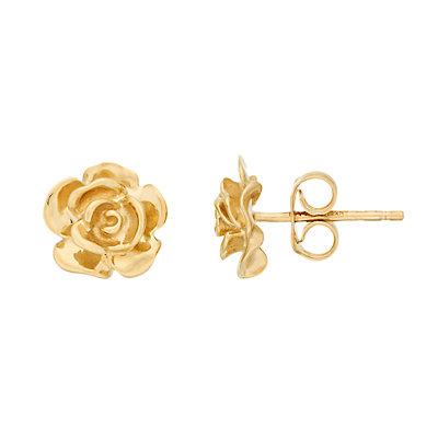 14K Gold Rose Bud Post Earrings