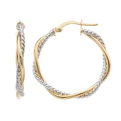 14K Gold Twisted Round Hoop Earrings