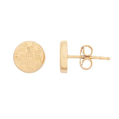 14K Gold Texture Stud Earrings