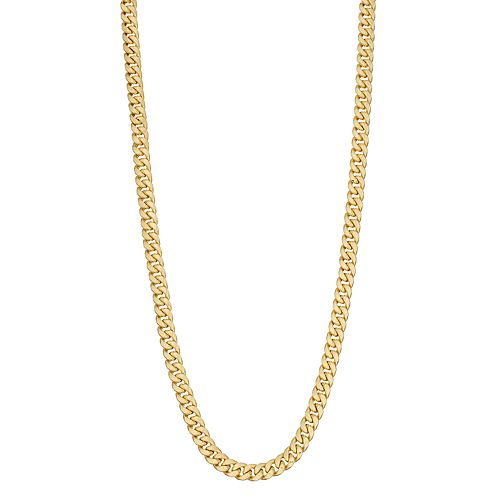 14K Gold Semi Solid Miami Cuban Necklace