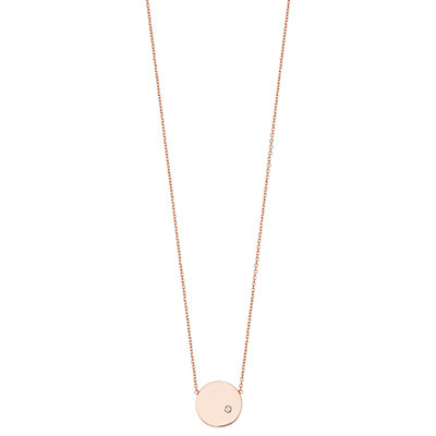 14K Rose Gold Round Disk Diamond Accent Pendant Necklace