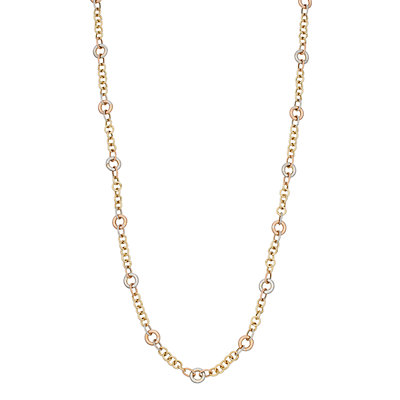14K Gold Tri-Tone Textured Link Necklace